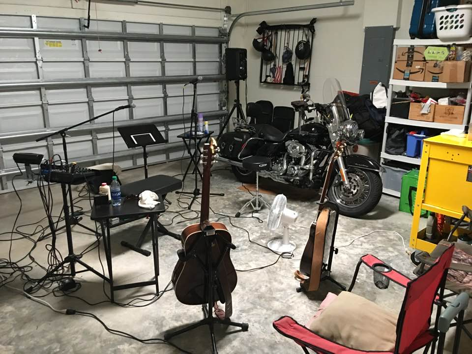 Setting up for garage concert