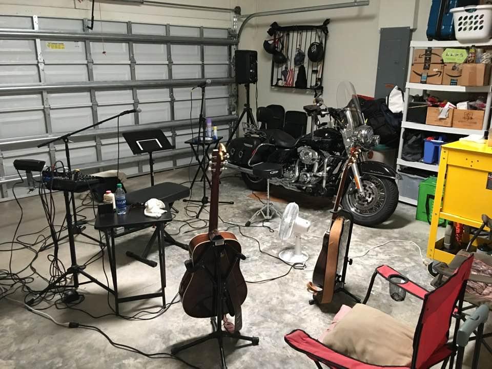 Setting up for garage concert